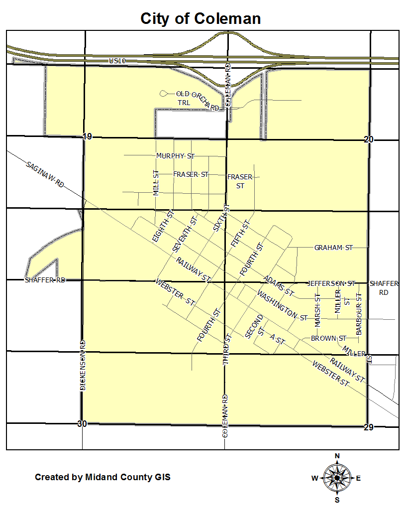 Coleman Michigan Map.County Of Midland Michigan Equalization Tax Maps City Of Coleman