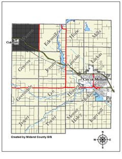 Coleman Michigan Map.County Of Midland Michigan Visitors About Local Officials